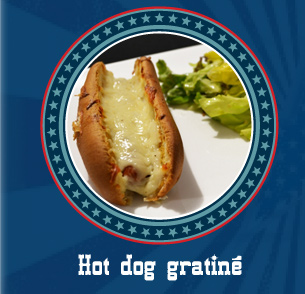 Hot dog gratiné
