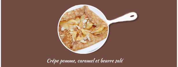 crêpes pomme, caramel et amandes effilées