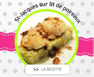 Noix de Saint-Jacques sur lit de poireaux