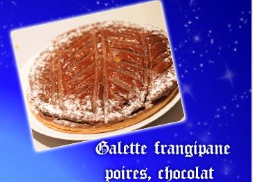 Galette frangipane poires, chocolat