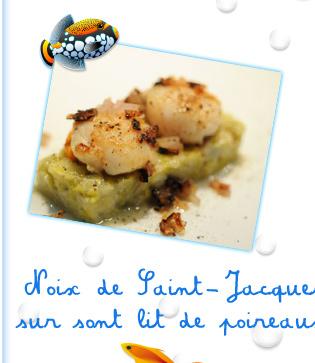 Noix de Saint-Jacques sur sont lit de poireaux