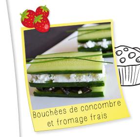 Bouchées de concombre et fromage frais