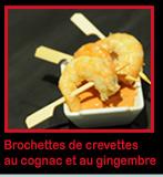 Brochettes de crevettes au cognac flambé