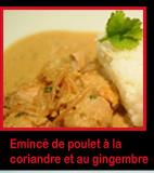 Emincé de poulet à la coriandre et au gingembre