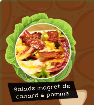 Salade magret de canard et pomme