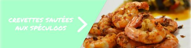 Crevettes sautées aux spéculoos et légumes