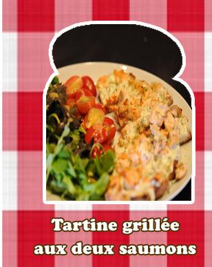 Tartine grillée aux deux saumons